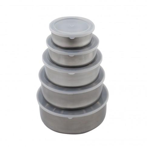 Caserole depozitare alimente, Kasemi, rotunde, inox + plastic, set 5 bucati