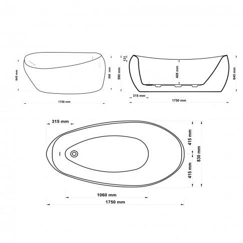 Cada baie freestanding, ovala, West Sara, acril, 175 x 83 cm