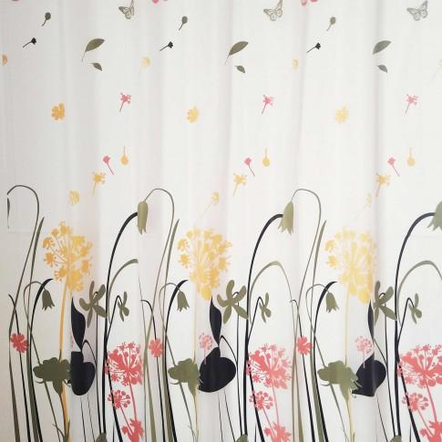 Perdea dus SWSC-151, model floral, alb / galben, 180 x 200 cm