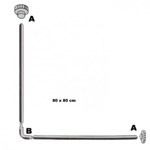 Bara perdea dus, aluminiu, alb, Kadda SW133A, 80 x 80 cm