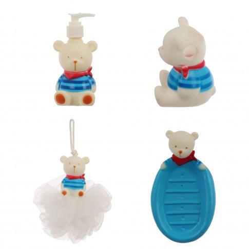 Set accesorii pentru baie, SW-BT005, 4 piese, model ursuleti marinari
