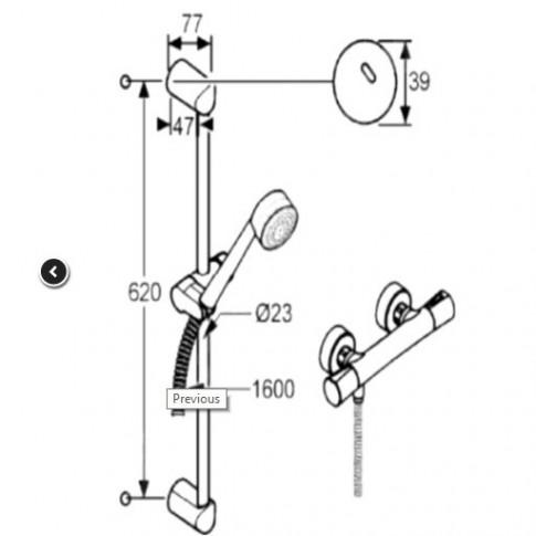 Pachet baterie baie termostatata + para + bara + furtun Kludi Logo Shower Duo 2 in 1 6857605