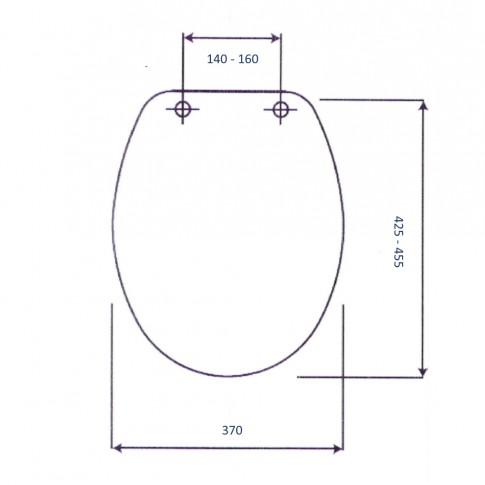 Capac WC din duroplast, Punto 2 CD0801, alb, inchidere standard, 370 x 425/ 455 mm