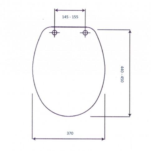 Capac WC din duroplast, CF0405, model pinguini, inchidere standard, 370 x 440 / 450 mm