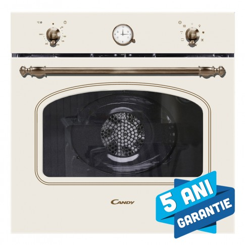 Cuptor electric incorporabil Candy FCC 604 BA, clasa A, 65 litri, 8 functii, grill, timer, ventilator, bej
