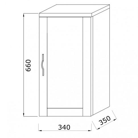 Dulap baie suspendat, Savini Due Shabby, 1 usa, grigio pietra, 34 x 35 x 66 cm
