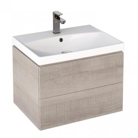 Masca baie pentru lavoar, Cersanit City S584-004, cu sertare, stejar, montaj suspendat, 60 x 44.7 x 42.6 cm