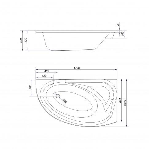 Cada baie asimetrica, pe colt, varianta montaj pe dreapta, Cersanit Meza S301-125, 170 x 100 cm, suport inclus
