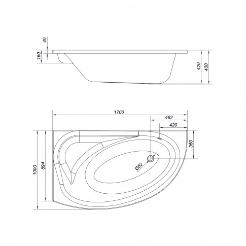 Cada baie asimetrica, pe colt, varianta montaj pe stanga, Cersanit Meza S301-126, 170 x 100 cm, suport inclus