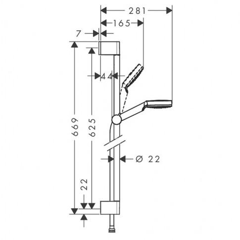 Set dus para + furtun + suport culisant + bara, Hansgrohe Crometta 26535400, 1 functie