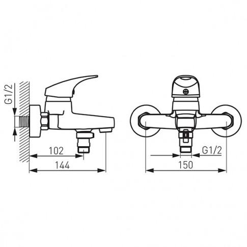 Baterie baie pentru cada / dus, Ferro One BFO1, montaj aplicat, monocomanda, finisaj cromat