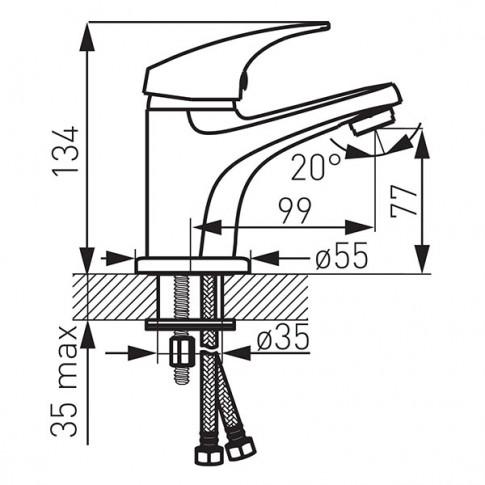Baterie baie pentru lavoar, Ferro One BFO2 + ventil click - clack, montaj stativ, monocomanda, finisaj cromat