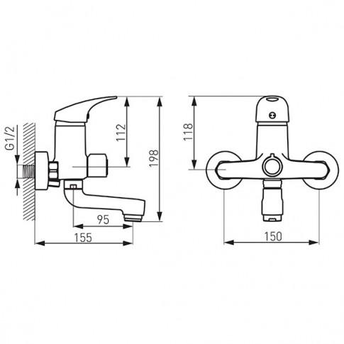 Baterie baie pentru cada / dus, Ferro One BFO1A, montaj aplicat, monocomanda, finisaj cromat