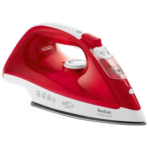 Fier de calcat Tefal Access Easy FV1543E0, 2100 W, talpa ceramica, 0.25 l, 100 g/min, declansator ergonomic pentru abur, rosu cu alb