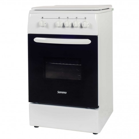 Aragaz pe gaz Serreno SER 5601A/G1, 4 arzatoare, dispozitiv siguranta plita si cuptor, latime 50 cm, alb