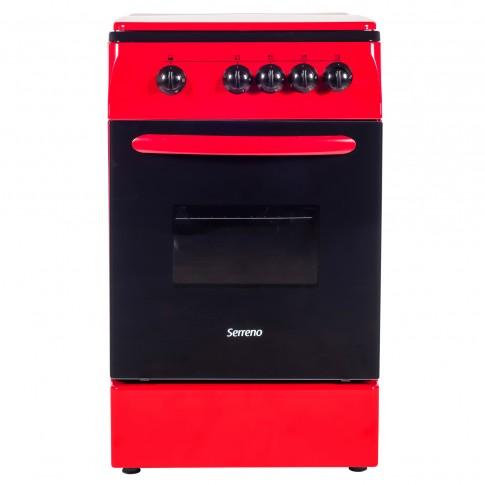 Aragaz pe gaz Serreno SER 5060R GA/R/5601R/G1, 4 arzatoare, dispozitiv siguranta plita si cuptor, latime 50 cm, rosu