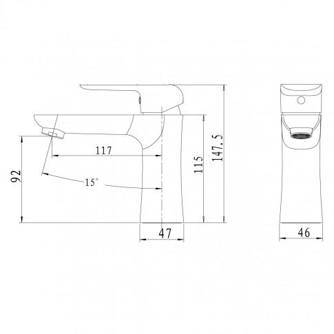 Baterie baie pentru lavoar, Ferro Tina 38001/1,1, montaj stativ, monocomanda, finisaj alb - cromat