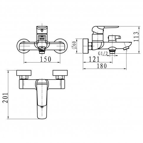 Baterie baie pentru cada / dus, Ferro Tina 38020/1.1, montaj aplicat, monocomanda, finisaj alb - cromat