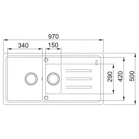 Chiuveta bucatarie compozit fragranite Franke BSG 651-97 avena bej cuva stanga / dreapta 97 x 50 cm + baterie Novara Plus avena bej