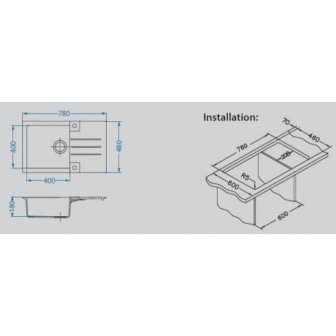Chiuveta bucatarie compozit algranit Alveus Rock 130 concrete gri cuva stanga / dreapta 78 x 48 cm + baterie Tonia 81