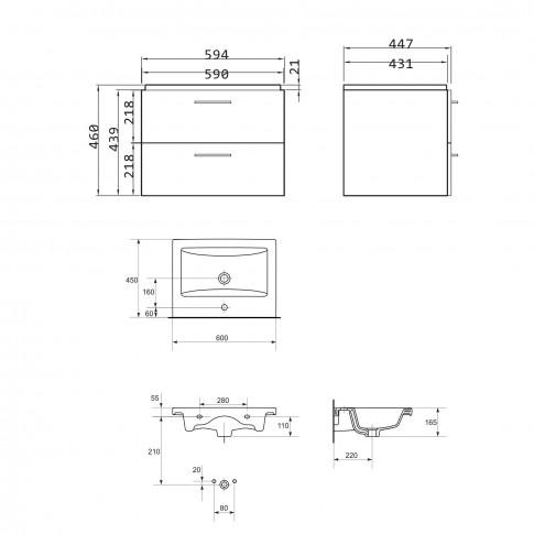 Masca baie + lavoar Cersanit Lara Como S801-174, cu sertare, nuc, 60 x 46 x 45 cm