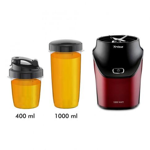 Blender Trisa Energy Boost 6928.83, 1000 W, 1 treapta de viteza, 1 l, functie Pulse, bol din plastic, actiune ciclonica, rosu + negru