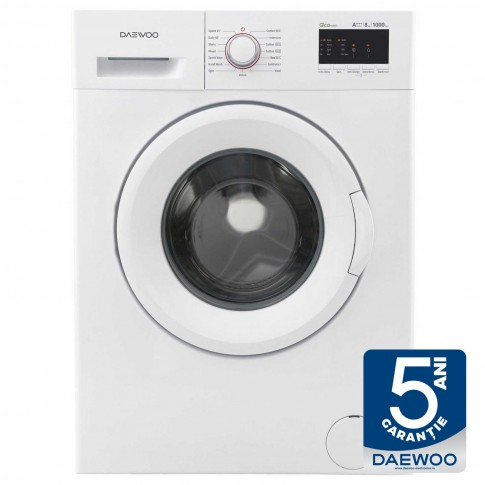 Masina de spalat rufe Daewoo DWD-FV5021-2, 8 kg, 1000 rpm, clasa A+++, adancime 55.7 cm, functie Anti Allergy, functie Time Delay, spalare Eco, alba