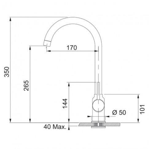 Chiuveta bucatarie compozit fragranite Franke ROG 610 grafite neagra rotunda diametru de 51 cm + baterie Pola monocomanda neagra