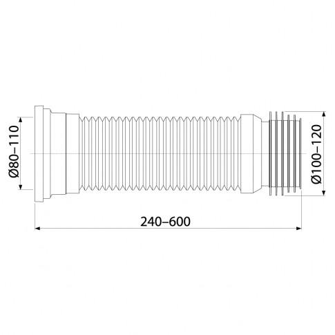 Racord WC flexibil, Komfort C97, 280 - 550 mm