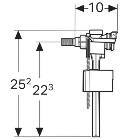 "Robinet flotor, racord apa lateral, tip 333, Geberit 136.710.00.3, 3/8"""