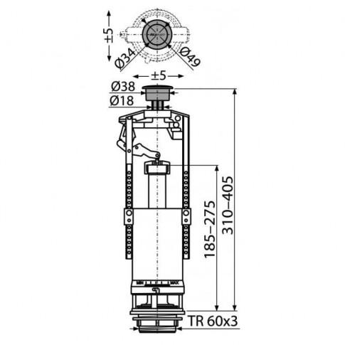 Mecanism WC, actionare simpla prin apasare, Komfort A2000