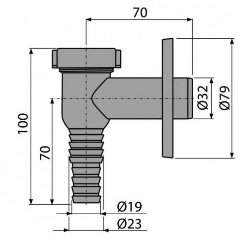Sifon pentru masina de spalat, AlcaPlast Komfort CPS1