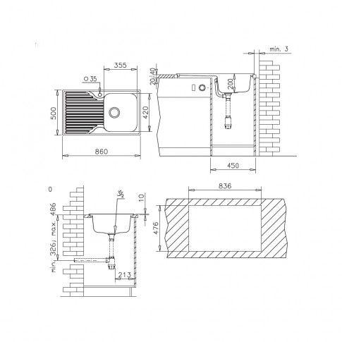 Chiuveta bucatarie compozit SMC Pyramis Pyradur avena bej cuva pe dreapta 86 x 50 cm + baterie