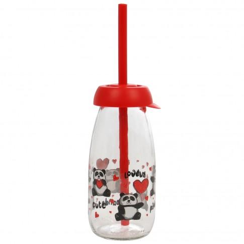 Sticla cu capac si pai, Panda 111722-004, din sticla + plastic, 250 ml