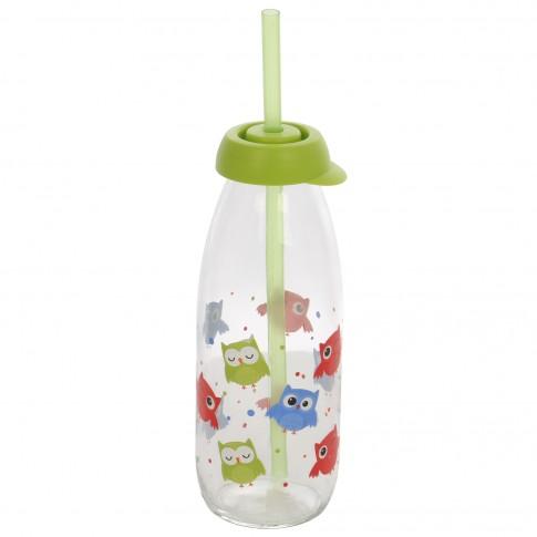 Sticla cu capac si pai, Bufnita 111714-001, din sticla + plastic, 500 ml