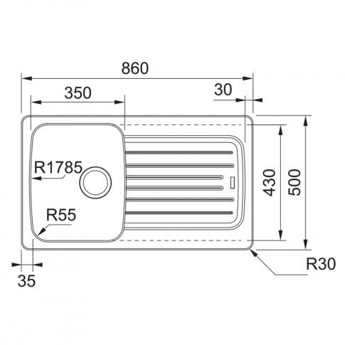 Chiuveta bucatarie compozit tectonite Franke CLD 611-86 avena bej cuva stanga / dreapta 86 x 50 cm + baterie Novara Plus avena bej