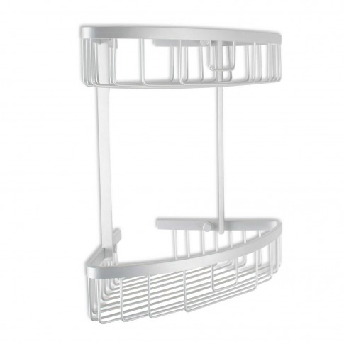 Etajera pentru baie, din aluminiu, Ice, montaj pe colt, doua rafturi, 30 x 22 x 33 cm