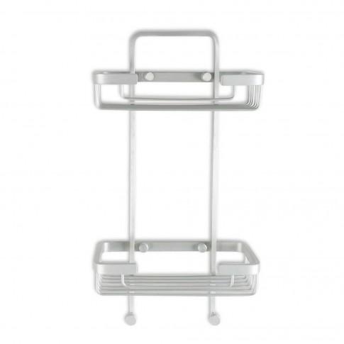 Etajera pentru baie, din aluminiu, Ice, rectangulara, 20.5 x 10. 5 x 38.5 cm