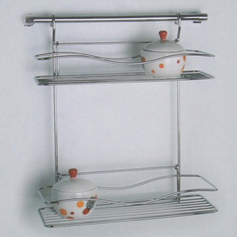 Suport bucatarie, pentru recipiente condimente, MG042, metal cromat, 40 x 17.5 x 44 cm