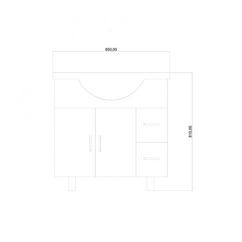 Masca baie + lavoar, Martplast Cross, cu usi si sertare, alb, 85 x 81 x 50 cm