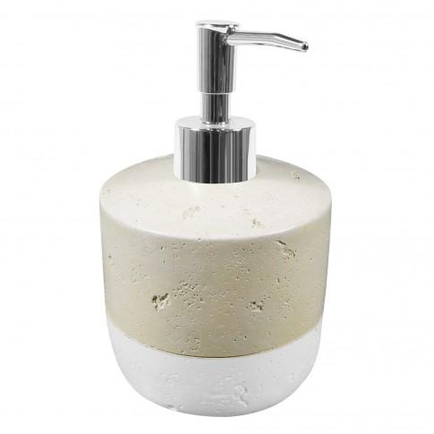 Dozator sapun lichid Flinstone BPO-1578A, polirasina, alb + crem