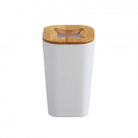 Suport periute dinti Wood BPO-2706-1B, PS + bambus, alb, 11.5 x 7.2 x 7.2