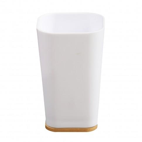 Pahar baie pentru igiena personala, Wood BPO-2706-1C, PS + bambus, 11.5 x 7.2 x 7.2 cm