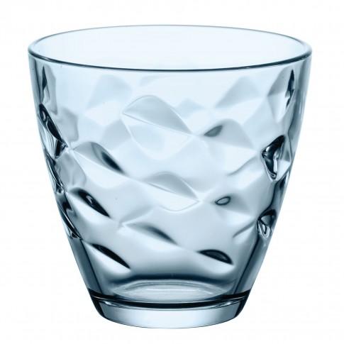 Pahar pentru apa / suc, Flora, sticla bleu, 260 ml, set 6 bucati