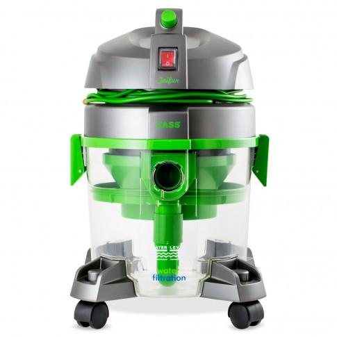 Aspirator Zass ZVC 06, cu filtrare prin apa, fara sac, 7.5 l, 800 W, filtru HEPA, aspirare uscata, 4 accesorii, verde + argintiu