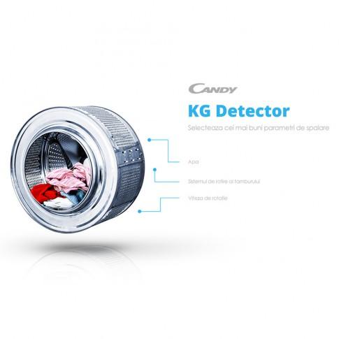 Masina de spalat rufe cu uscator slim Candy GVSW45485TWHC, spalare 8 kg, uscare 5 kg, 1400 rpm, clasa A, adancime 45 cm, senzor Kg detector, alba
