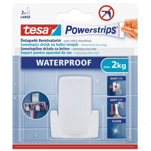 Suport pentru aparatul de ras, Tesa Waterproof, alb