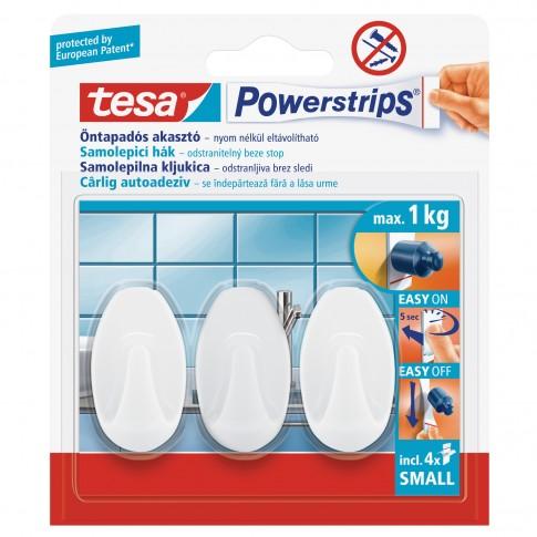 Cuier baie tesa Powerstrips, mic, oval, benzi dublu adezive incluse, alb, o agatatoare, set 3 bucati