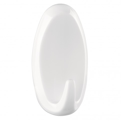 Cuier baie tesa Powerstrips, mare, oval, alb, o agatatoare, set 2 bucati
