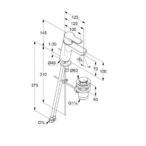 Baterie baie pentru lavoar, Kludi Pure & Easy 372890565, ventil inclus, montaj stativ, monocomanda, finisaj cromat